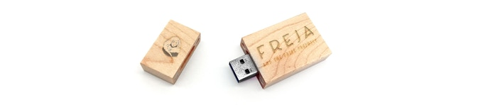 Wooden USB flash laser engraved with Freja herself.