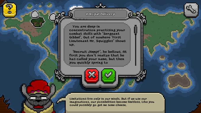 Quests will take you all over the world! The Rodent King always has helpful? advice.