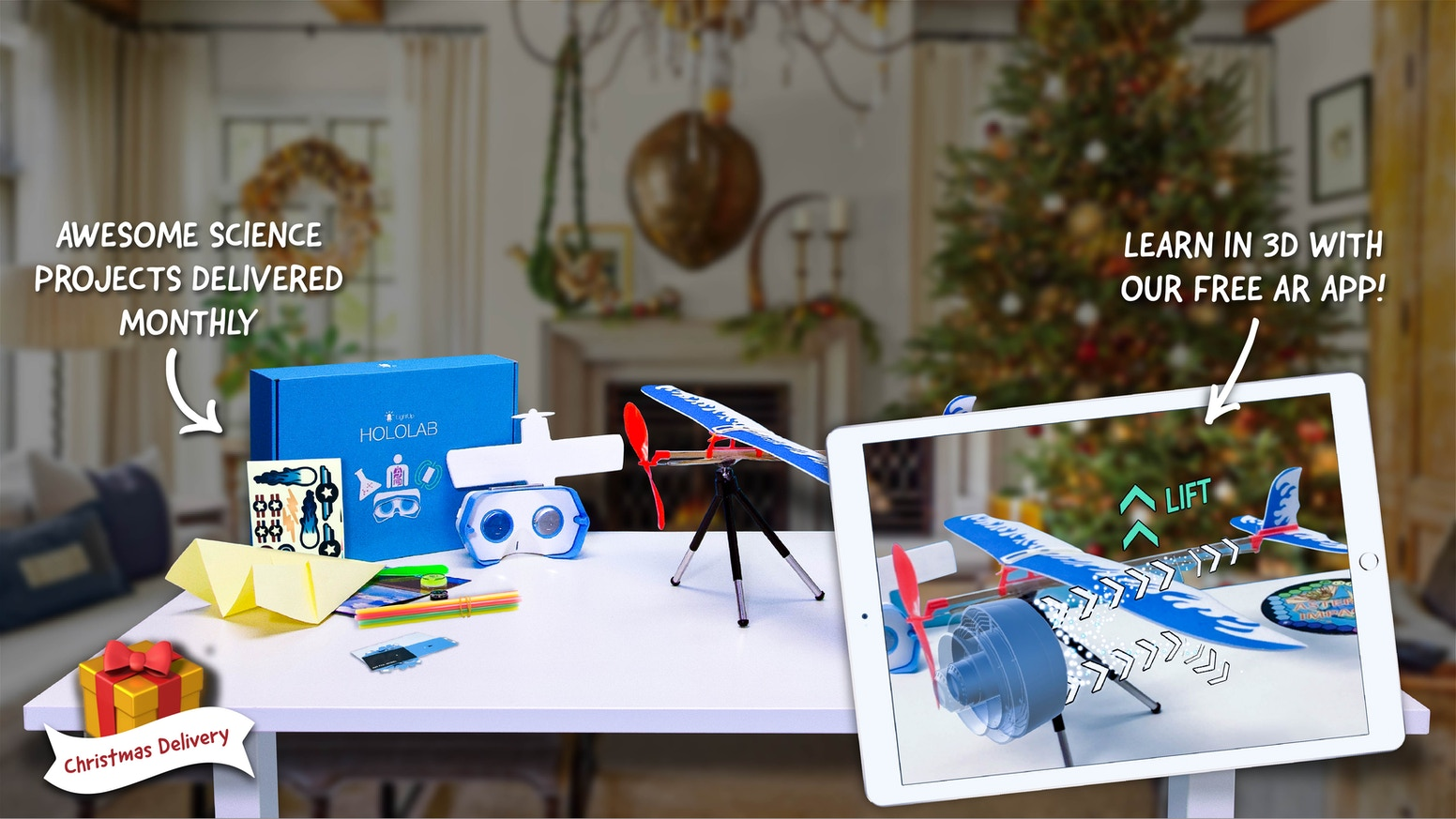 A futuristic 3D learning experience, delivered in a monthly box. Hands-on projects + AR teach kids about climate change, AI & space!