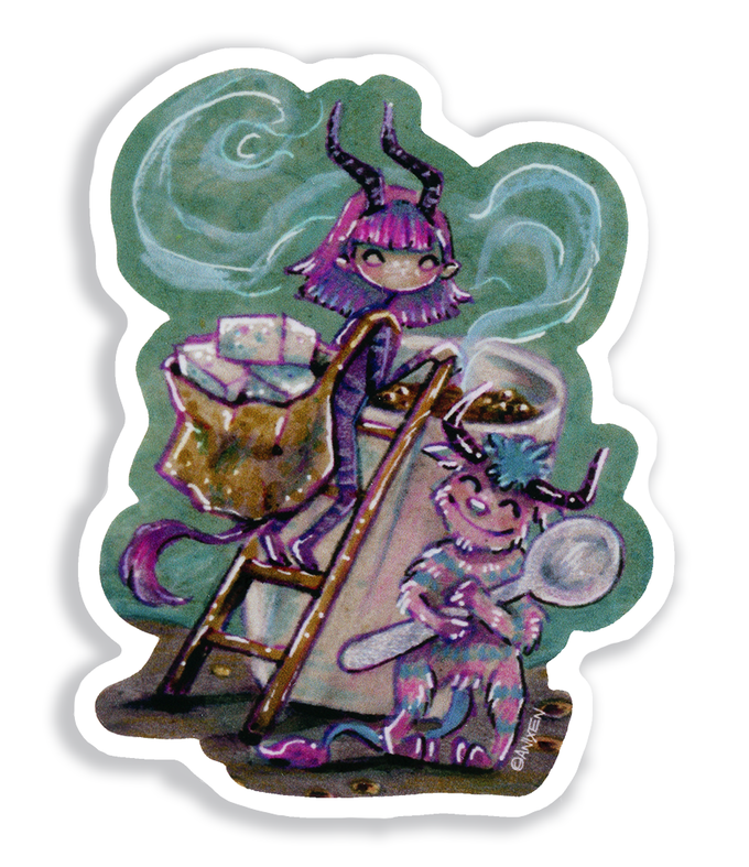 """This Anixen """"Coffee Imps"""" sticker is only available in the ADD-ON shop - all sticker design option! - See bottom of campaign for details"""