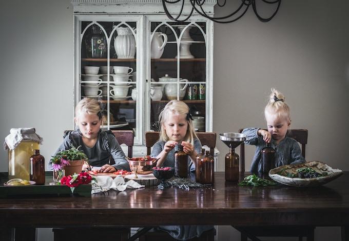 our little ladies making kombucha