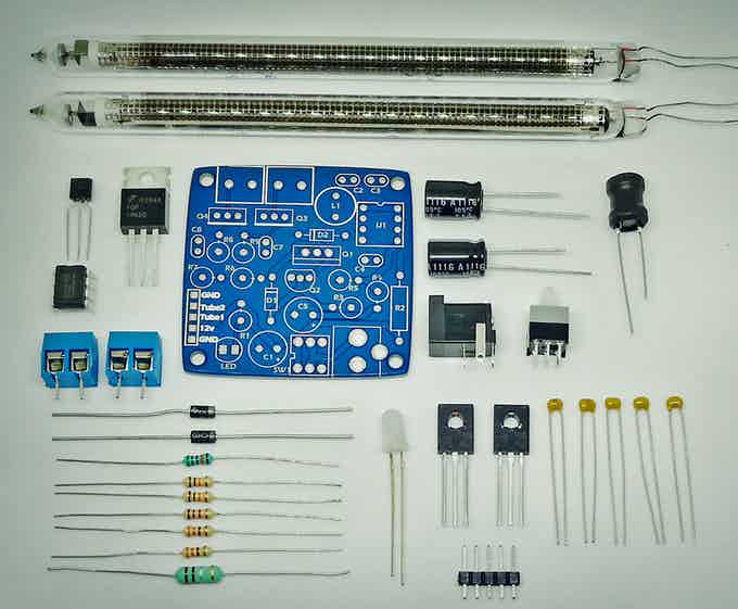 Nixie driver kit contents. The new kit will have a black ENIG PCB.
