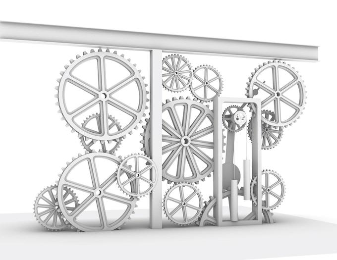 Conceptual drawing of Kinetic Clock