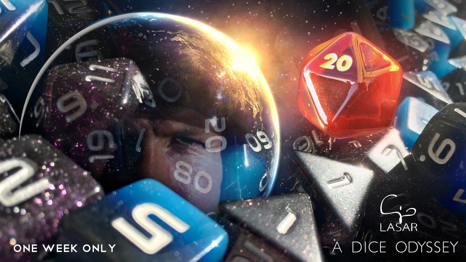 Spice up your sci-fi RPG adventures with the mysterious HAL d20.01 and three gorgeous, easy to read, space-themed polyhedral dice sets.