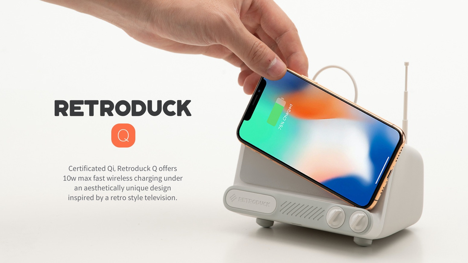 Certificated Qi, Retroduck Q offers fast wireless charging under an aesthetically unique design inspired by a retro style television.