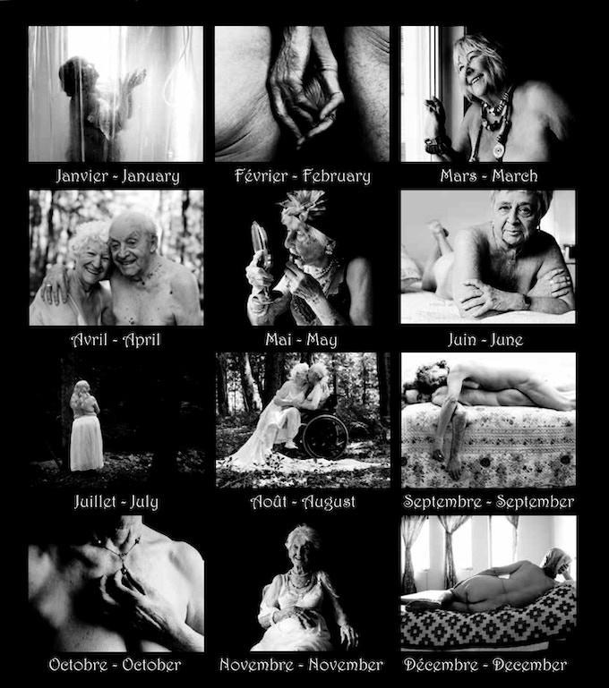-Calendrier sexy (photographies boudoir avec des modèles de 70 ans et plus).  -Sexy calendar (boudoir photographs of models aged 70+).