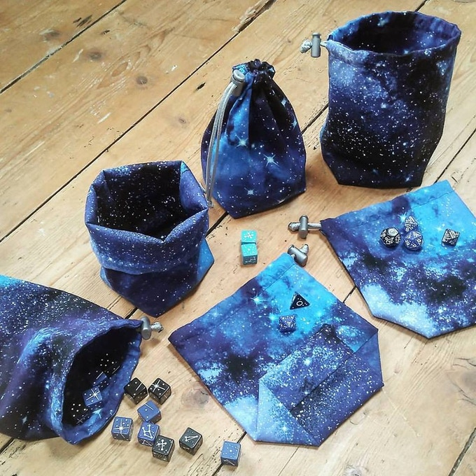 Constellation Dice bags by The Book Of Craft UK (on Etsy)