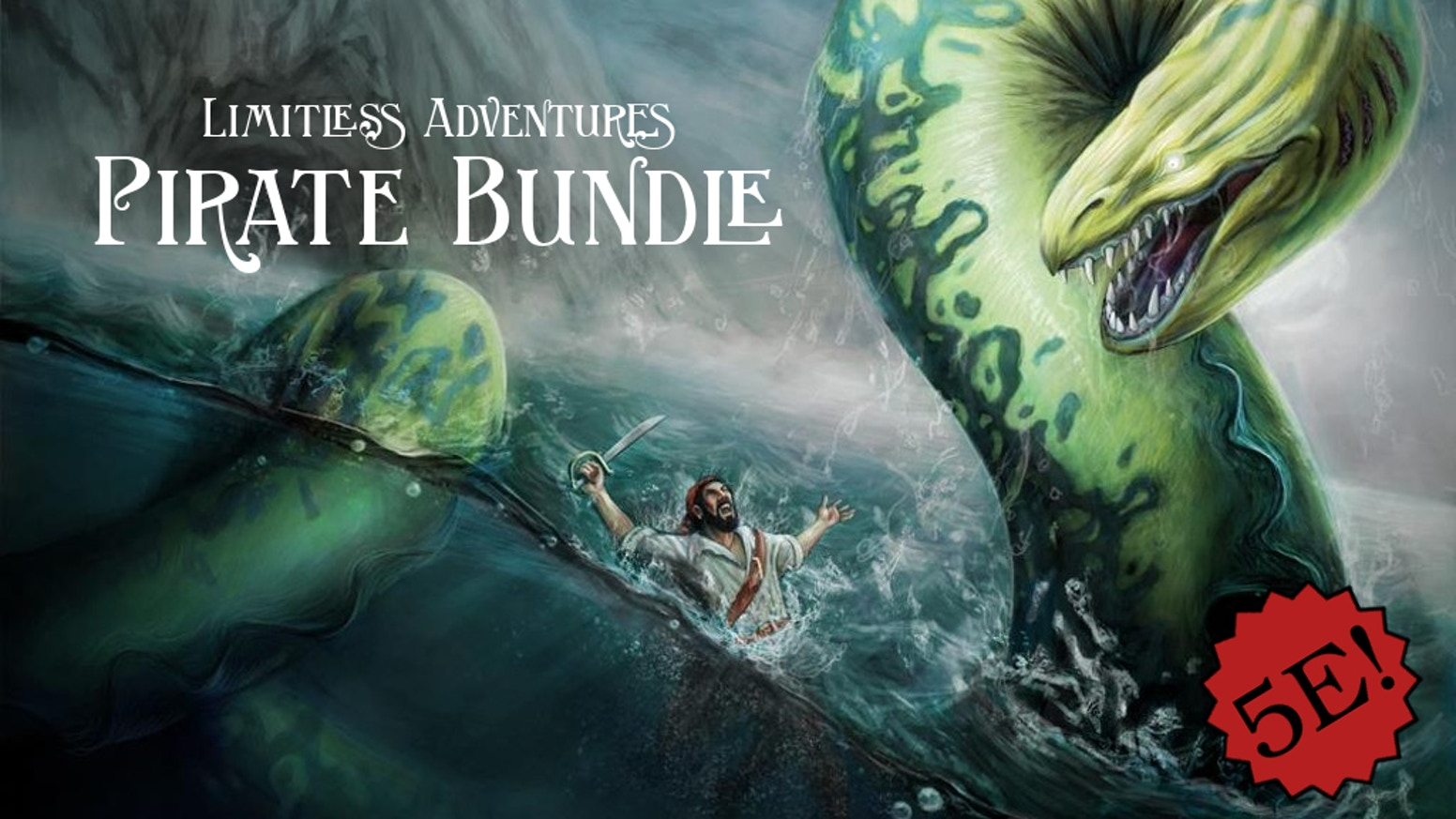 A bundle of 5E pirate-themed products: a pirate ship, a pirate town, 10 coastal encounters, and 10 encounters at sea.