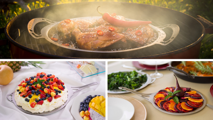Pictured above are nöni™  Skillet-Lids used for baking, frying and outdoor grilling - They are NOT just lids!