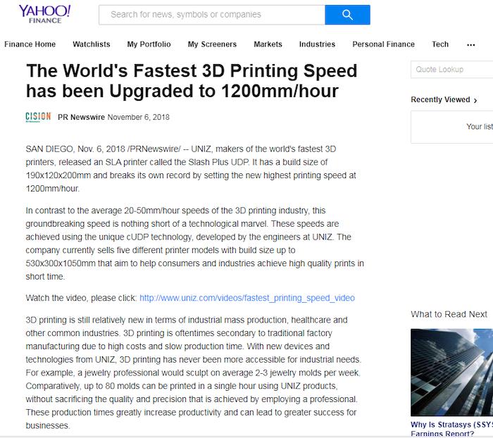 UNIZ-UDP: the World's Fastest 3D Printer Technology by Uniz