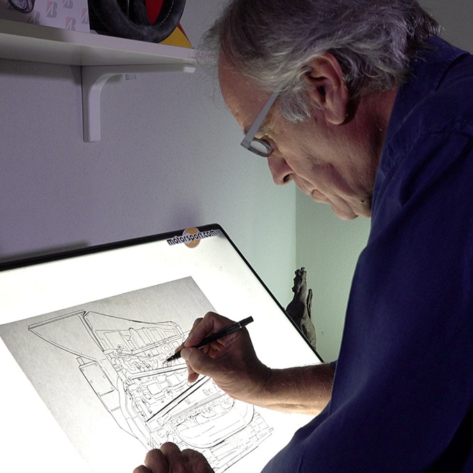 Giorgio working on an engine drawing