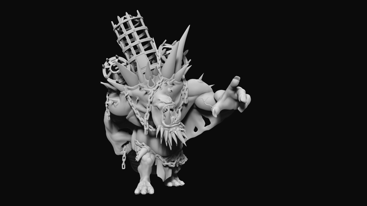 An .STL file of a large Troll to be used with games such as Hordes, Warmachine, or War Hammer 40k.