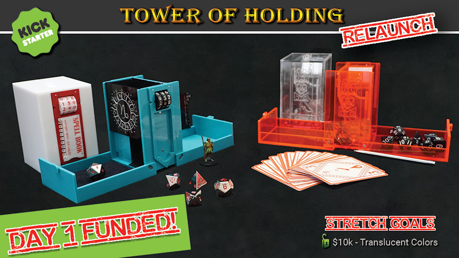 Roll, Track, Store & Go. It's more than just a dice tower and perfect for traveling tabletop role-playing gamers.