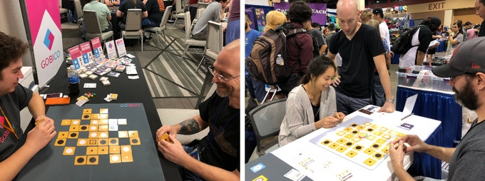 Players trying the original Kuzushi on 6x6 & 8x8 boards (RinCon & GameOn Expo earlier this year)