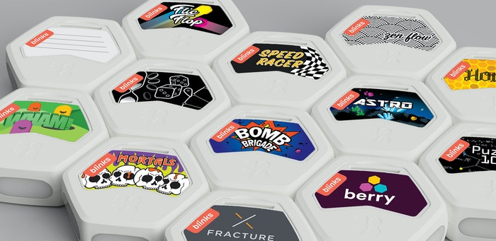 Each Blink with its own game label shows which game it will be responsible for teaching to other Blinks.