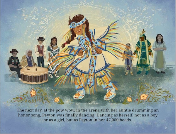 An image from 47,000 Beads, the first ever children's book about a two-spirit kid whose community bands together and makes her an entire new boys' regalia to dance at pow wow. (Flamingo Rampant, 2017)