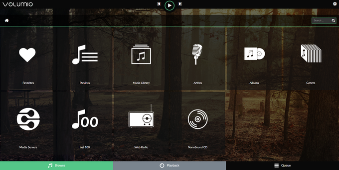 Volumio web interface