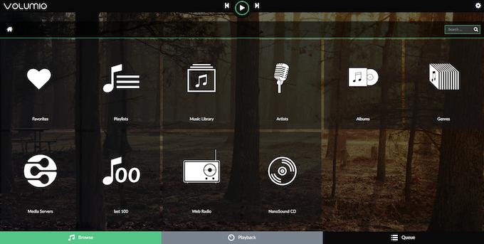 Volumio web interface