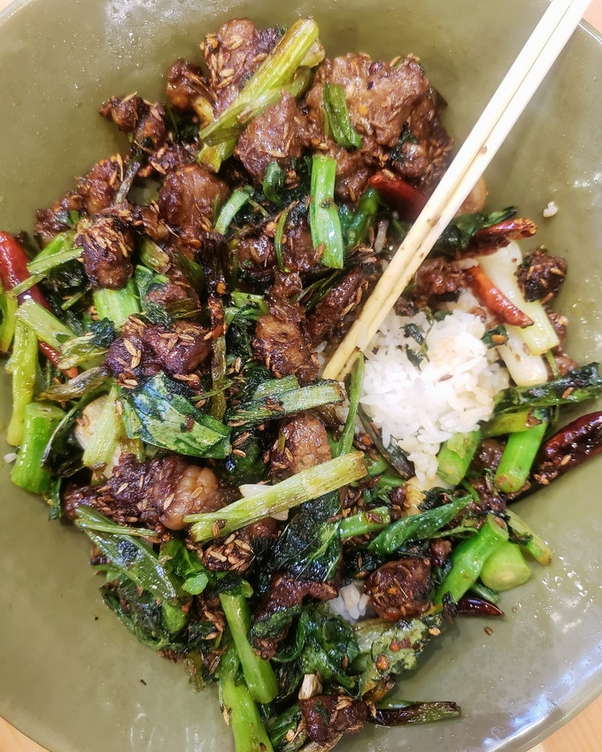 sichuan spicy lamb and rice