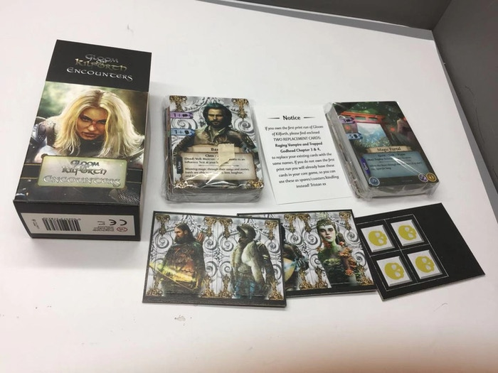 Encounters contents for the English language version, note replacement yellow Enemy Stranger tokens for colourblind friendliness (these are included in the base game reprint).