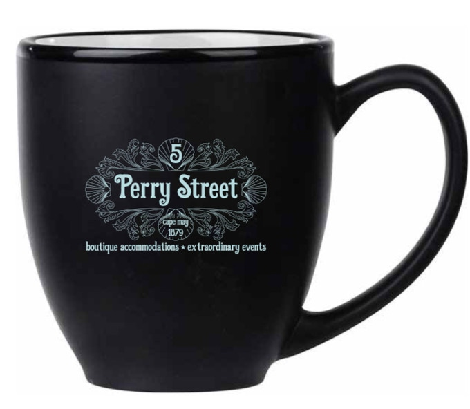 Start your day with our 14 ounce ceramic custom coffee mug with the 5 Perry Street logo. This same coffee mug will be stocked in all of our suites.