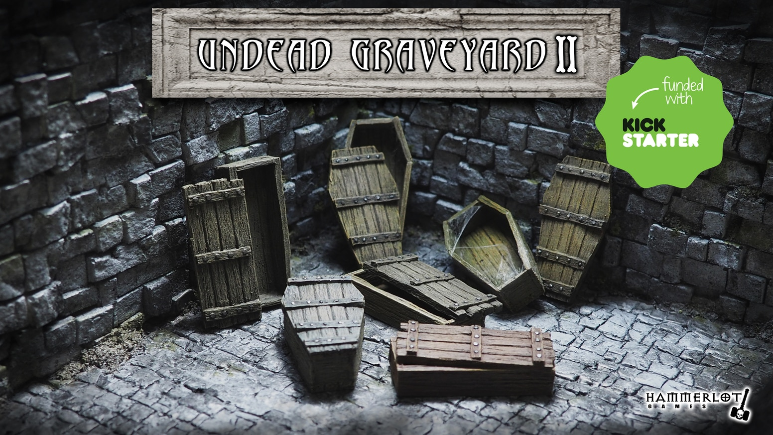 Undead scenery, miniatures 28/30mm, coffins, tombs. Board games, tabletop, RPG, fantasy. For painters, collectors and zombie lovers.
