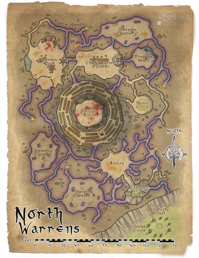 This is a sample map done by Glynn, showing one of the Goblin warrens. The new maps will be in this style.