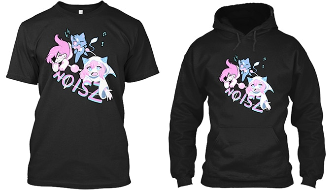 NOISZ shirt and hoodie, available in the FASHION tiers.
