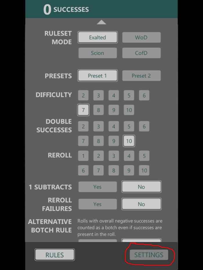 Select the settings option