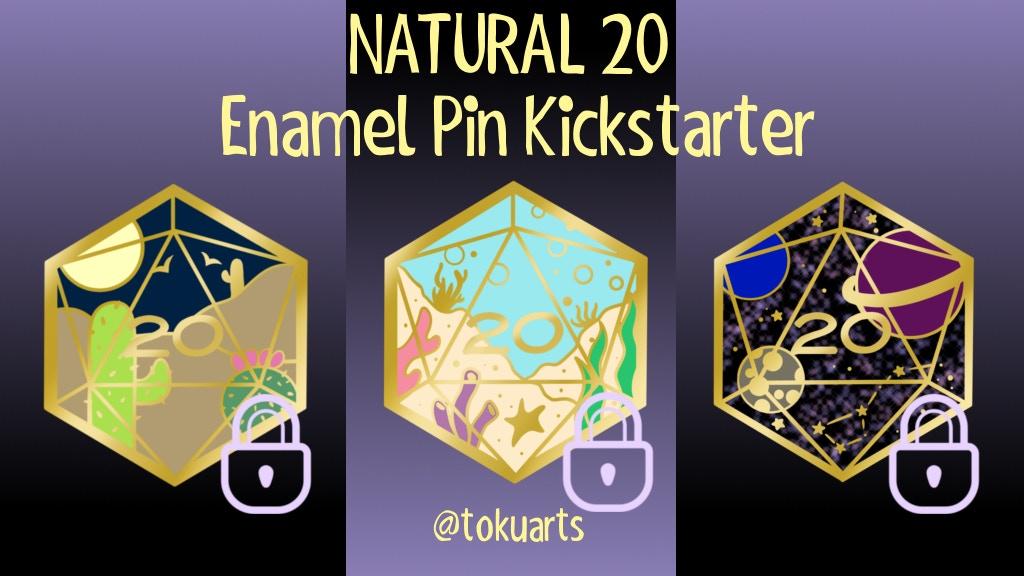 Natural D20 Enamel Pins