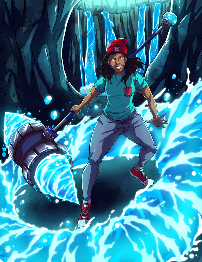 Meet Sjozet, master of the tide! Like the sea she can be as gentle as a river or as fierce as a tsunami. Upon completion of her training she fused her war-hammer with the Orb of Nazmu and created the Monsoon Mace.
