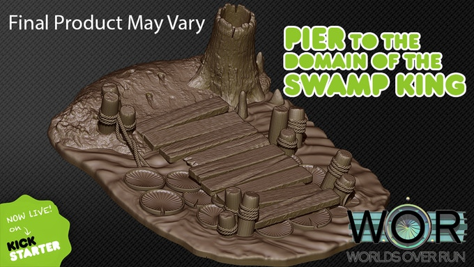 Pier to the Domain of the Swamp King Clay Render