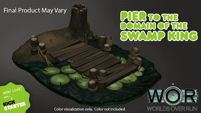 Pier to the Domain of the Swamp King with color visualization. Color not included