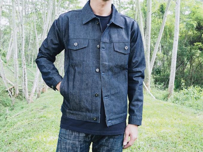 Indigo Trucker Jacket, Navy Stealth Stitching