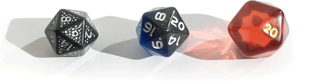 Size comparison of Constellation Dice from 2017, Sky's Edge, HAL d20.01