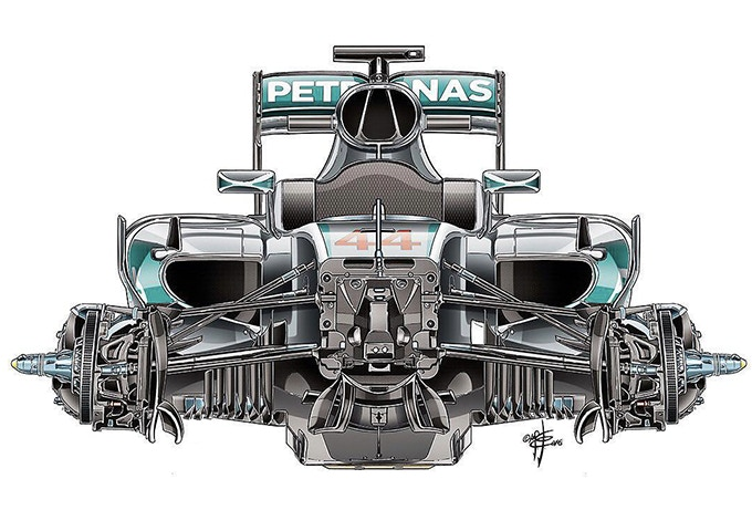 Giorgio's drawing of the Mercedes F1 W07