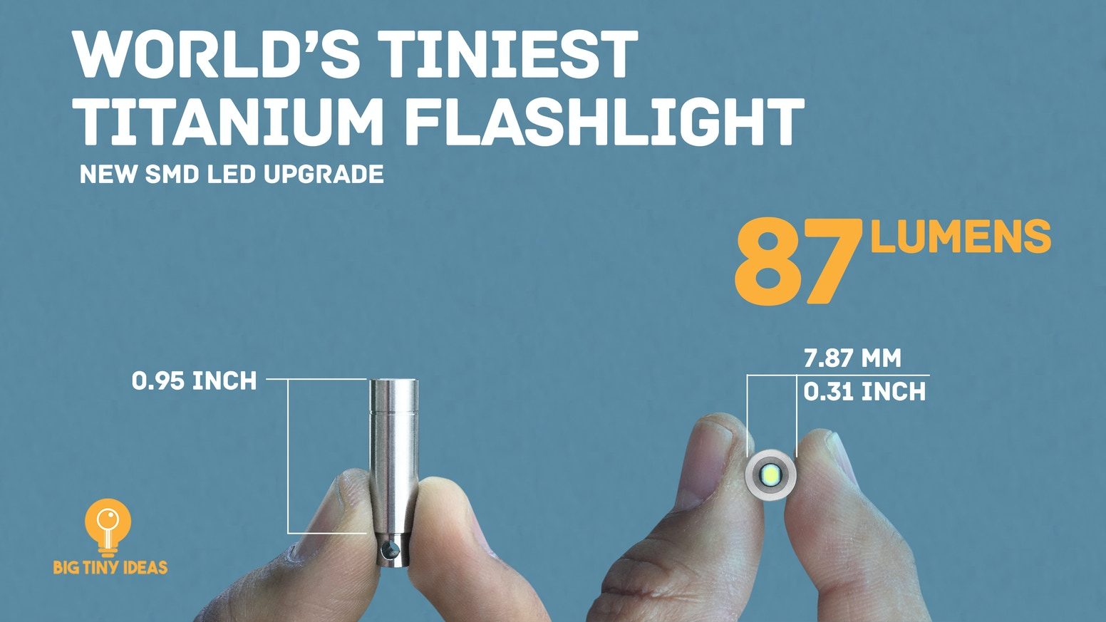 World's tiniest,  titanium body, extremely durable, waterproof, perfect EDC flashlight.