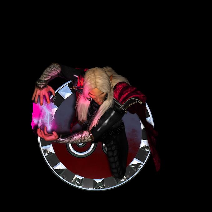 elven wizard token with base