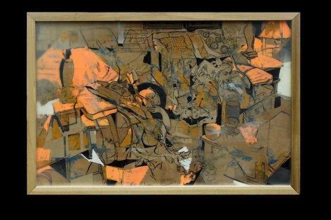 Living Room No. 1- Original encaustic collage