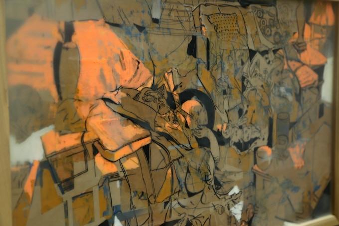 (detail ) Living Room No. 1- Original encaustic collage