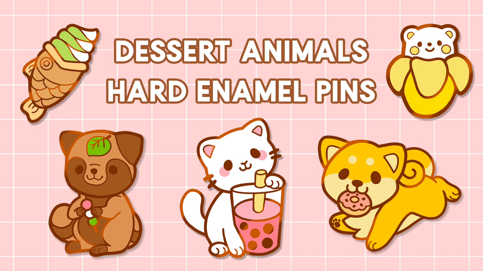 1.5 inch hard, rose gold plated enamel pins inspired by sweet things and animals from all over the world!