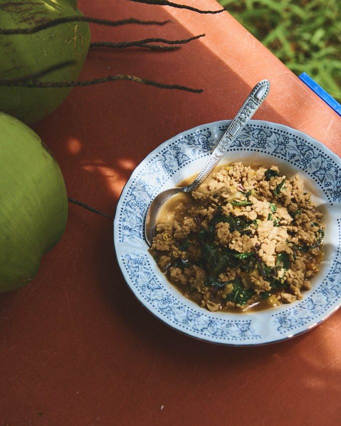 The moo pad kaprow (stir-fried ground pork with holy basil) that Matt made at a homestay in southern Thailand; photo by Benjamin Schmuck.