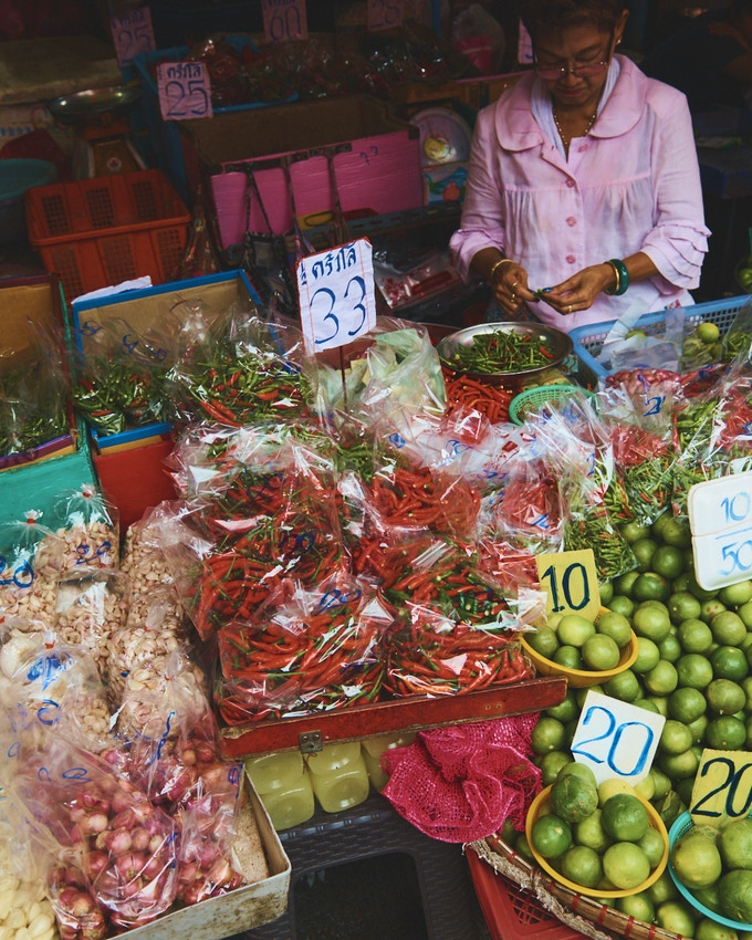 A market stall in Udon Thani; photo by Benjamin Schmuck.