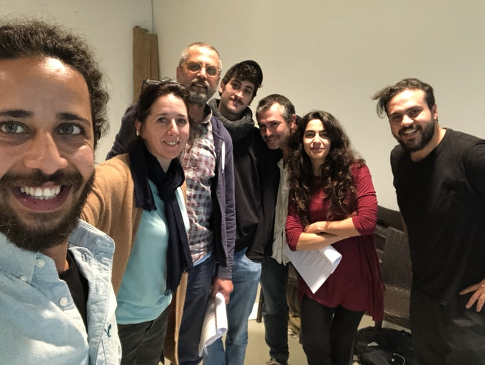 Rehearsals in Ramallah  Nov 26 (From left) Motaz Malhis, Alex Aron, Khalife Natour, Ivan Azazian, Amir Nizar Zuabi, Fidaa Zidan, Alaa Shehada