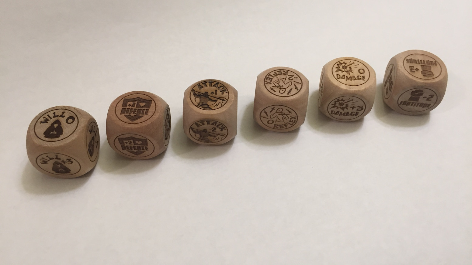 RPGers: Never forget temporary bonuses again! Track six of them right in front of you on large specially engraved woode dice. Woo Hoo!!(The website below is coming!)