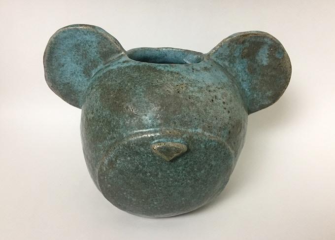 "Unique Ceramic Bear-Head Vessel (9""H x 6"" x 6"")"