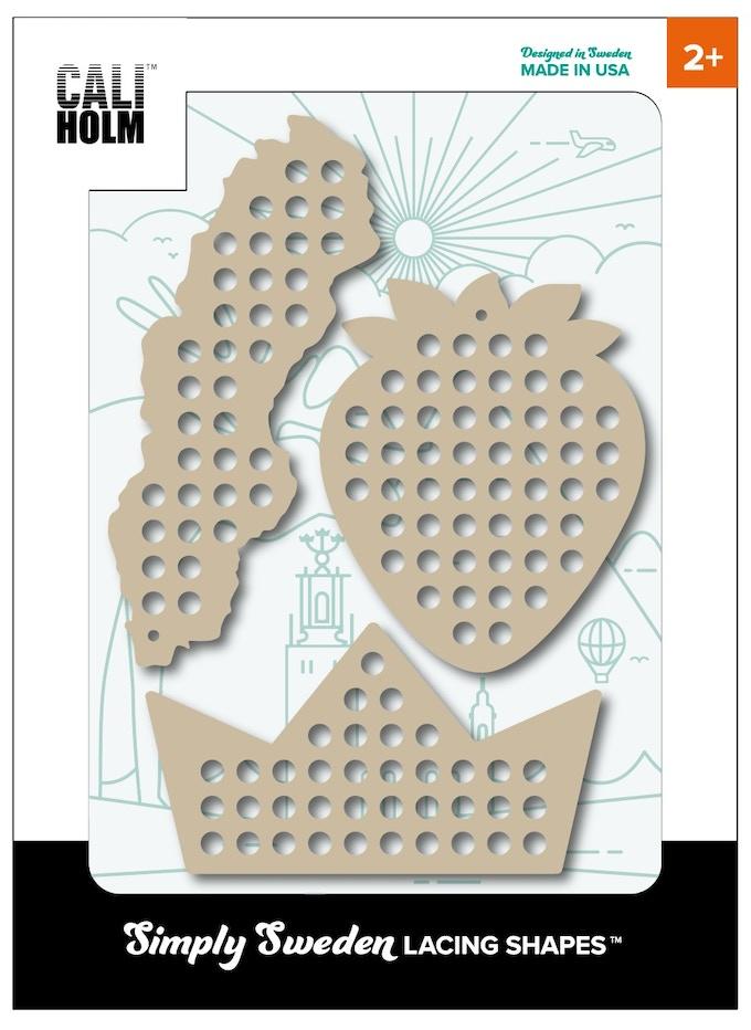 "Mock-up of packaging design for ""Simply Sweden Lacing Shape Kit"""