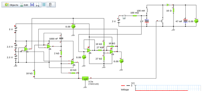 Simulated boost converter circuit design