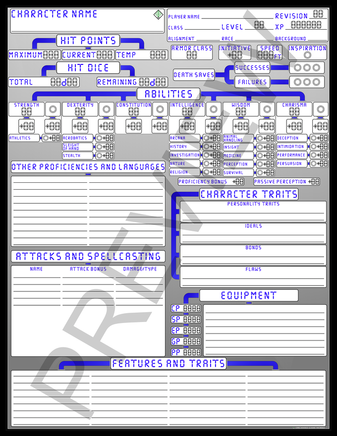 Retro sci-fi character sheets [D&D5e] by Orcansee Game Works