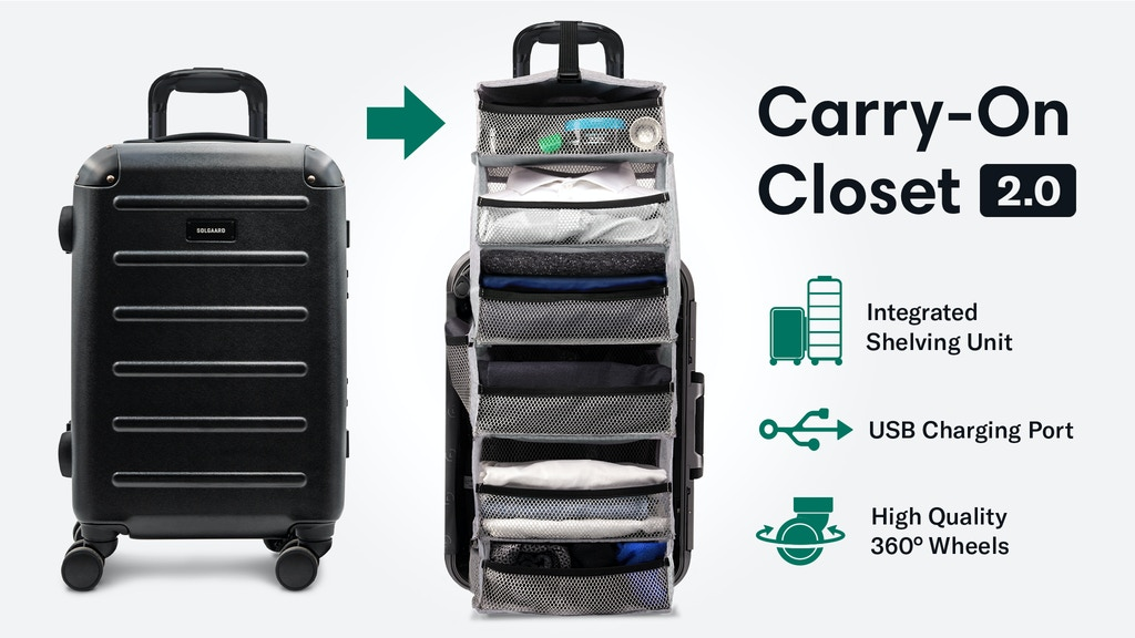 Carry-On Closet 2.0 - Solgaard Suitcase with Shelf and USB
